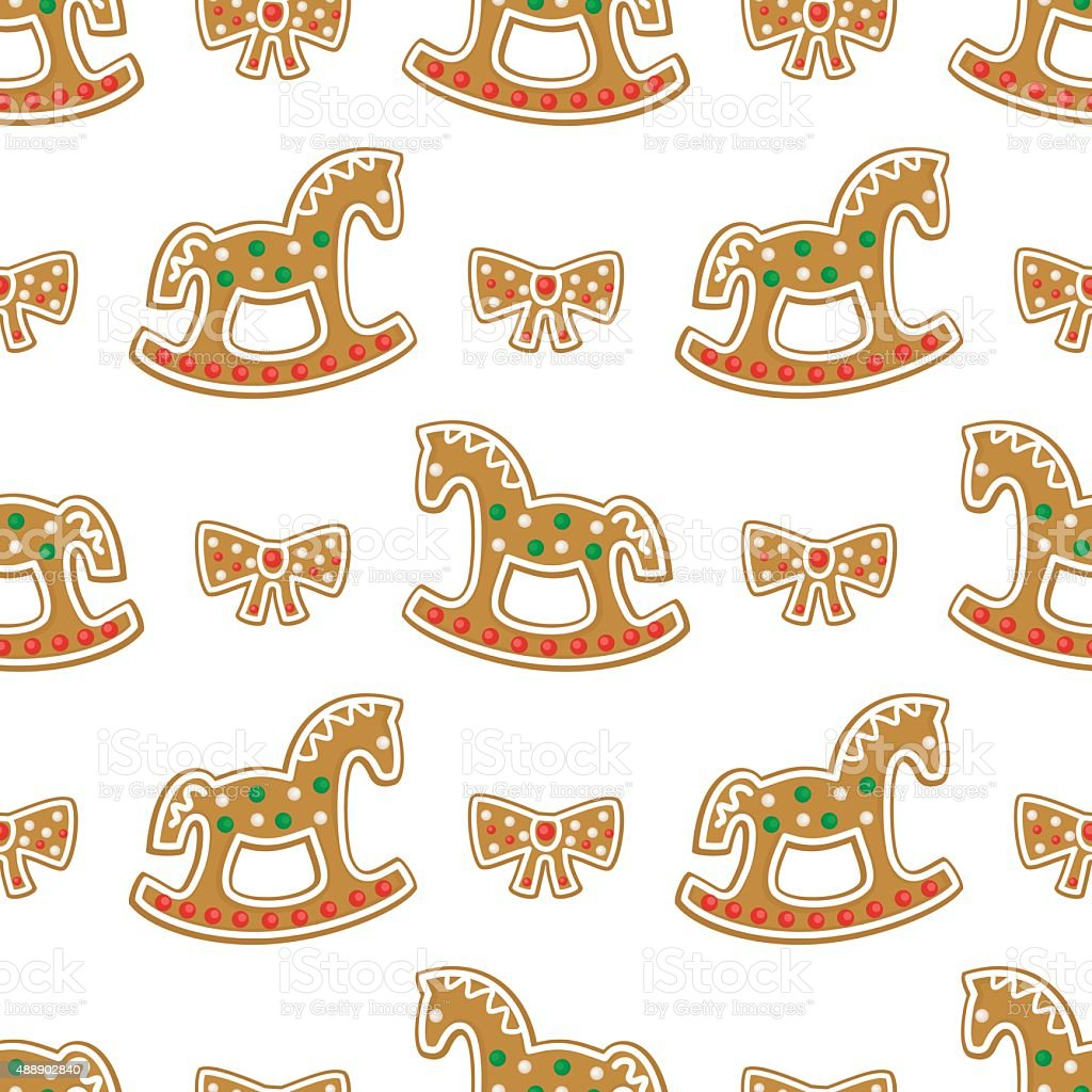 Seamless Pattern With Christmas Gingerbread Cookies Rocking Horse Bow Stock Illustration Download Image Now Istock