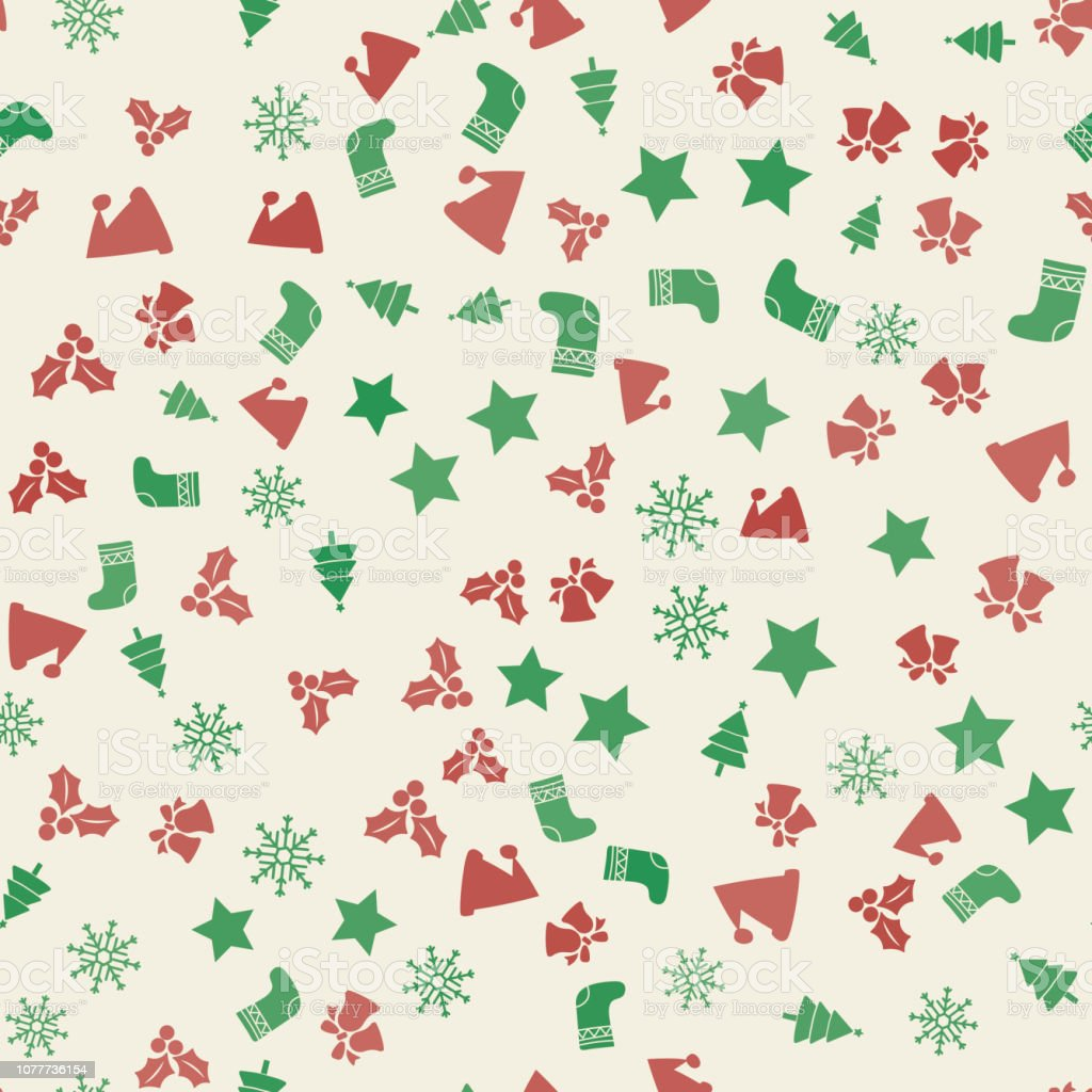 Christmas Ornaments Vector.Seamless Pattern With Christmas Ornaments Vector Stock