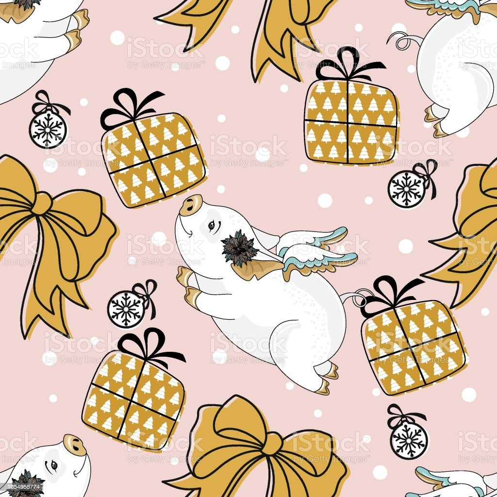 seamless pattern with christmas pig on winter background for printing on fabric postcards