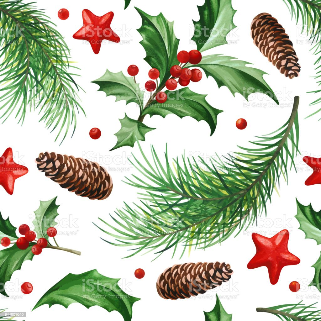 Christmas Leaves.Seamless Pattern With Christmas Symbol Holly Leaves