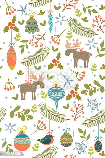 istock Seamless pattern with Christmas toys and twigs. Vector graphics. 1279794084