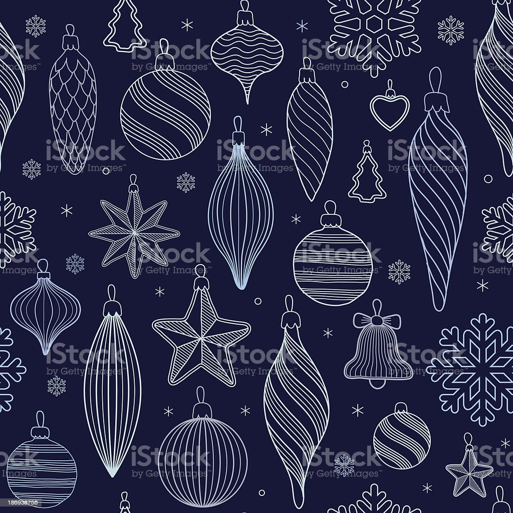 seamless pattern with Christmas tree decorations royalty-free stock vector art