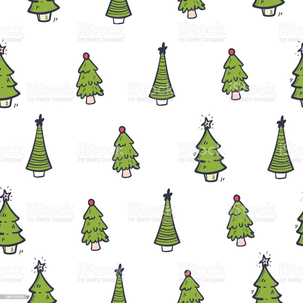 Christmas Trees Drawing.Seamless Pattern With Christmas Trees Hand Drawing