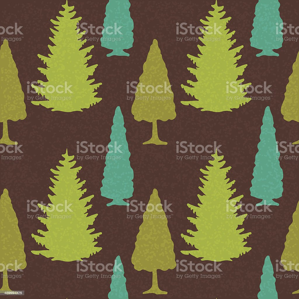 Seamless Pattern with Christmas Trees vector art illustration