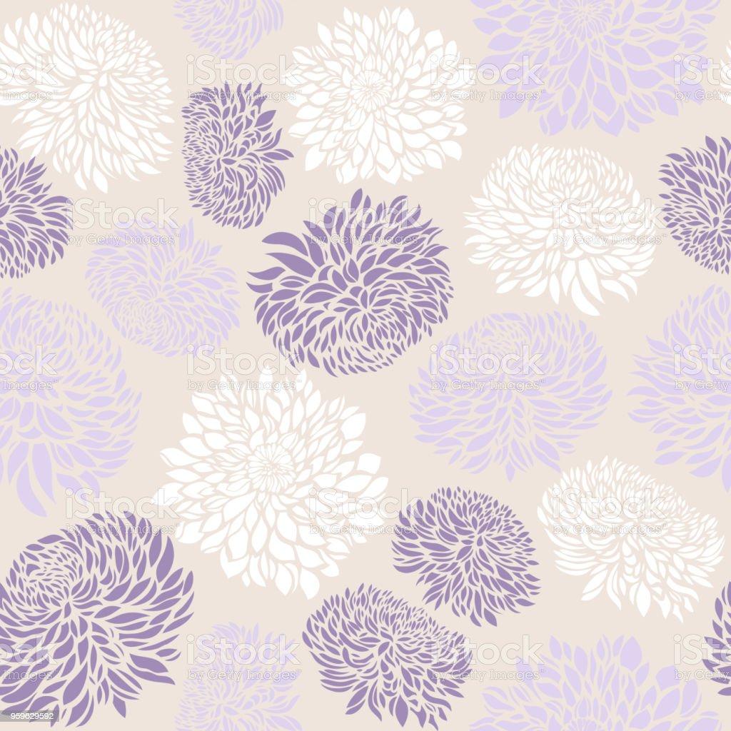 Crisantemo patrón sin costuras con flores.  Ilustración vectorial. - arte vectorial de Abstracto libre de derechos