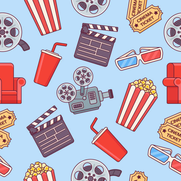 Seamless pattern with cinema elements on blue background vector art illustration