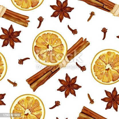 istock Seamless pattern with cinnamon sticks, dried orange slices, aniseed stars and cloves. Christmas and New Year spices. 1290061935