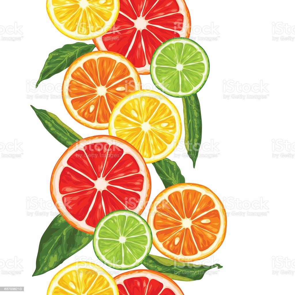 Seamless pattern with citrus fruits slices. Mix of lemon lime vector art illustration
