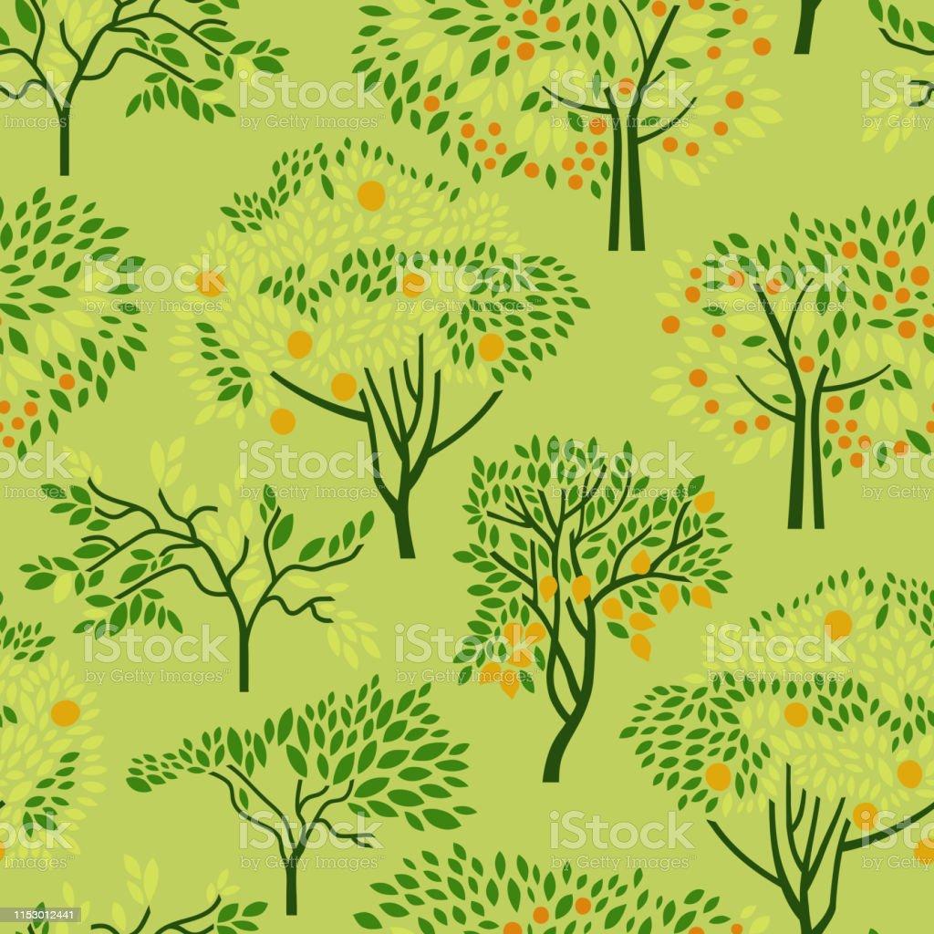 Seamless pattern with citrus trees mandarin, orange, lemon. Surface...