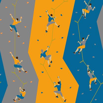 Seamless pattern with climbers on climbing wall.