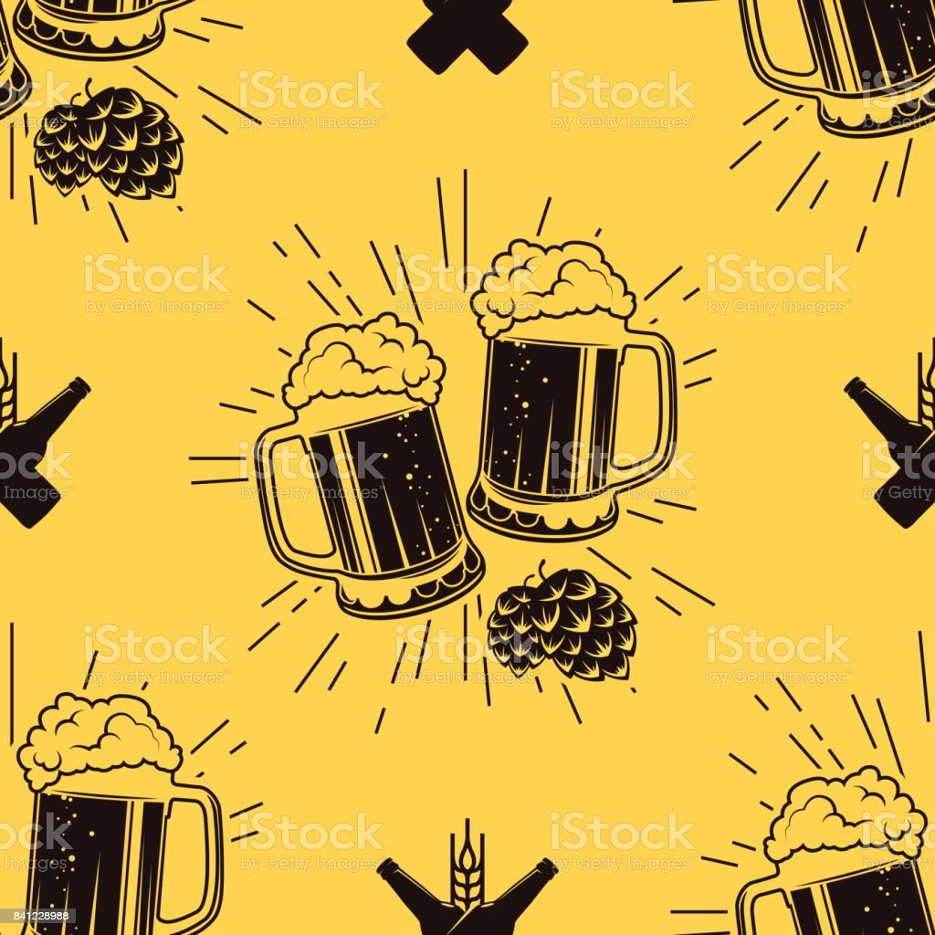 Seamless pattern with clinking glasses of beer, vector illustration - illustrazione arte vettoriale
