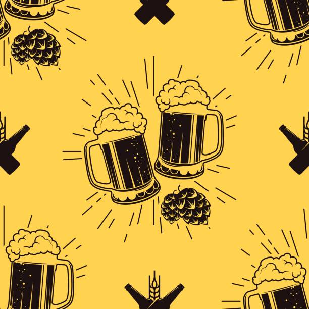 Seamless pattern with clinking glasses of beer, vector illustration vector art illustration