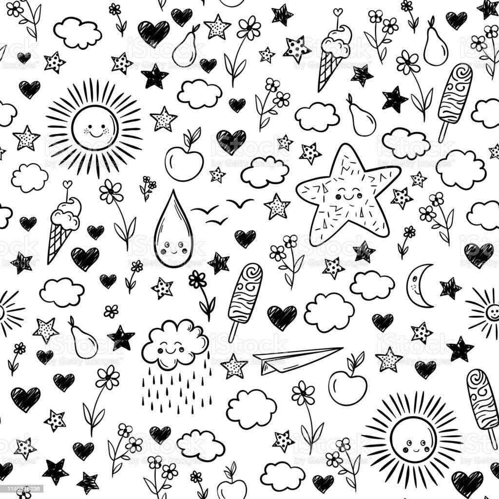 Seamless Pattern With Cloud Icecream Flowers Sun Star Vector