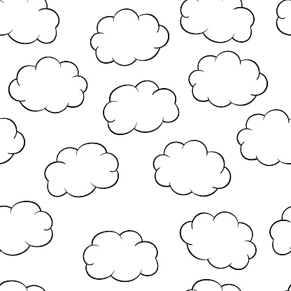Seamless pattern with clouds, coloring page