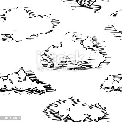 Seamless pattern with clouds.Hand drawn vintage engraved clouds vector . Detailed ink illustration. Sky, heaven, cloud sketch, retro style.Great for fabrics, wallpaper.