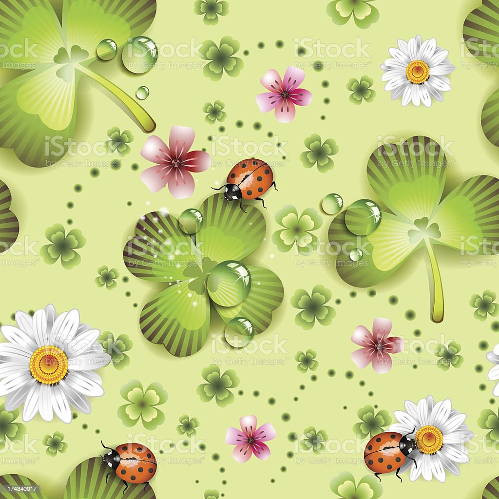 Seamless pattern with clover and flowers royalty-free stock vector art