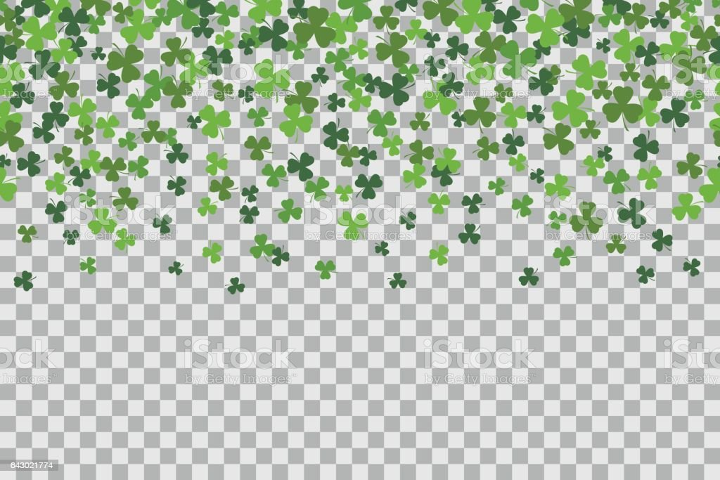 Seamless pattern with clover leafs for St Patricks Day celebration on transparent background