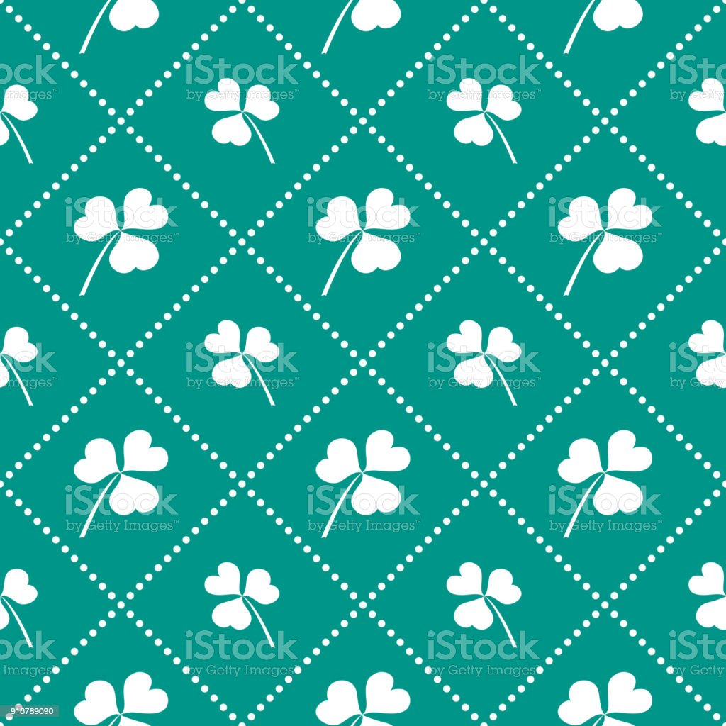 Seamless pattern with clover leaves. vector art illustration