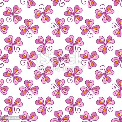 Seamless floral pattern with three leaf clover