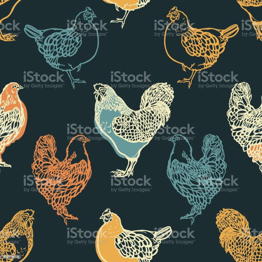 Seamless pattern with cocks and chicken. Poultry. Farming. Livestock raising. Hand drawn. Vector illustration. vector art illustration