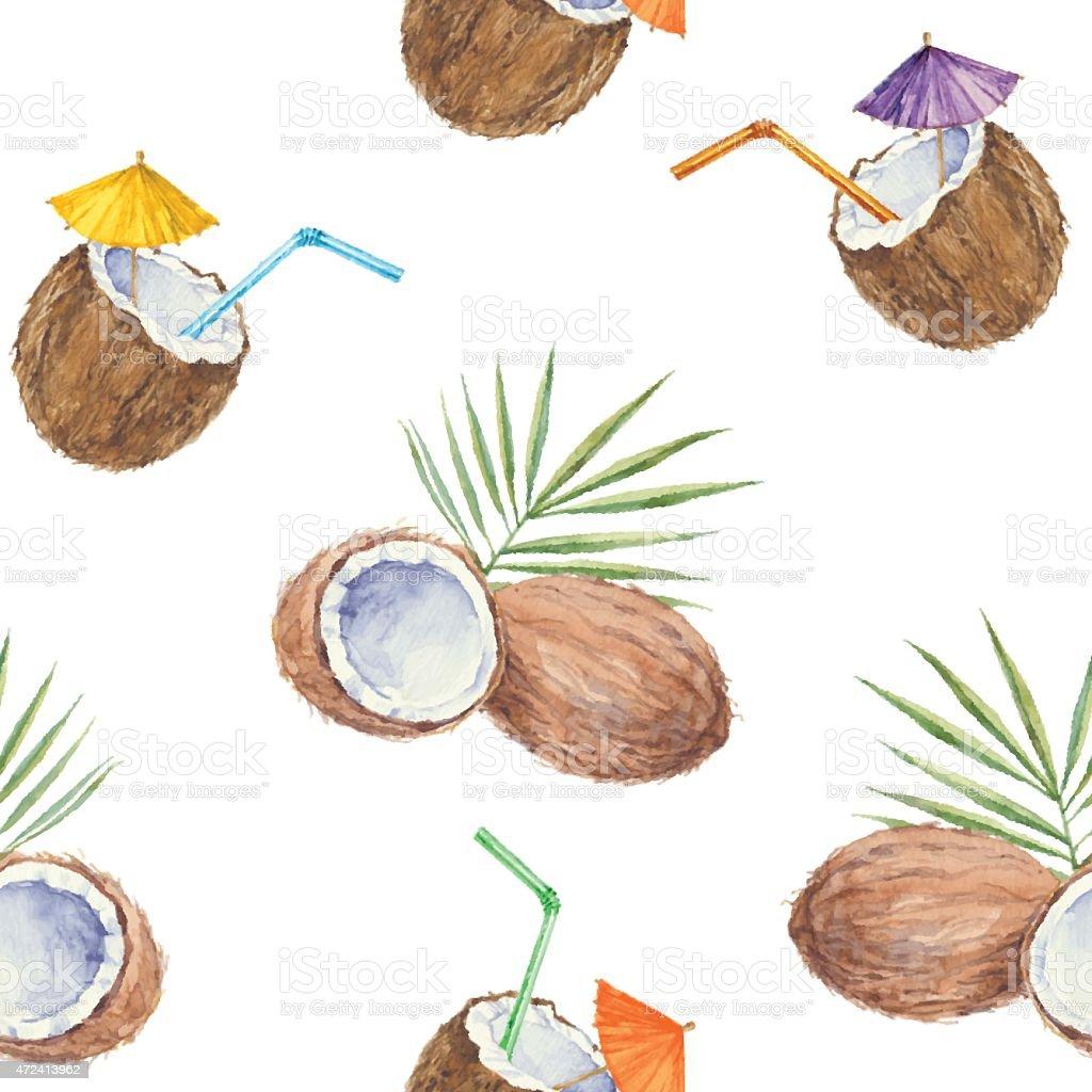 nahtlose muster mit kokosn ssen und kokosnuss cocktail gemalt in aquarell vektor illustration. Black Bedroom Furniture Sets. Home Design Ideas