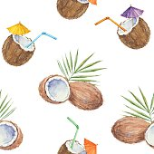 istock Seamless pattern with  coconuts and coconut cocktail, painted in watercolor. 472413962