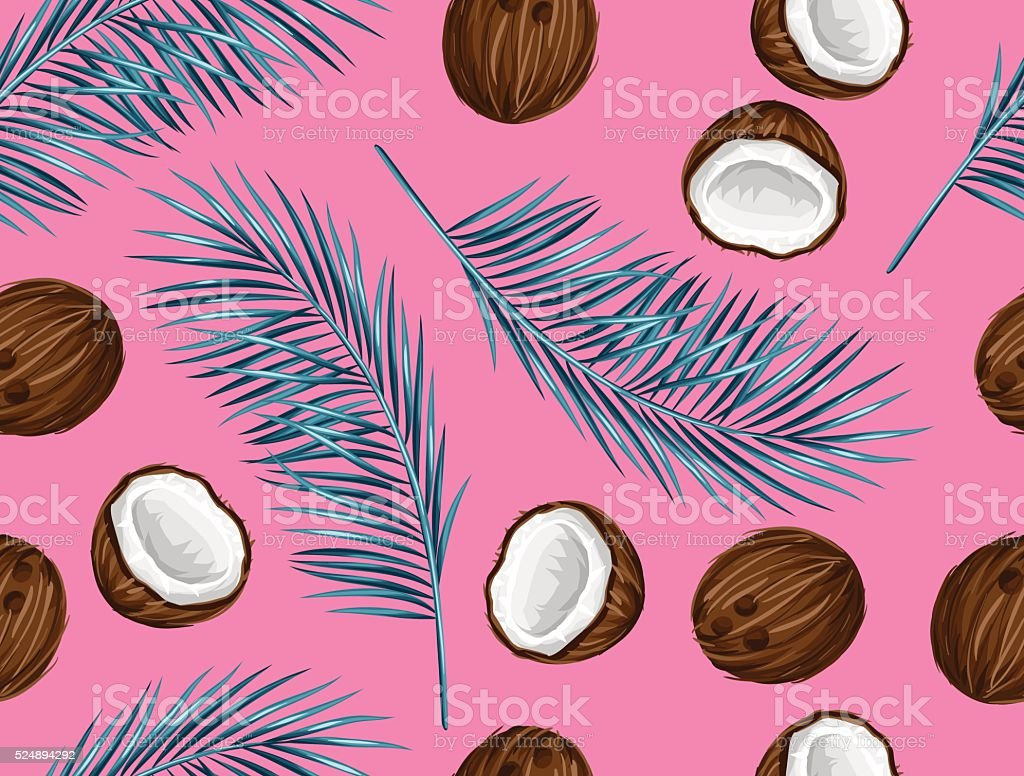 Seamless pattern with coconuts. Tropical abstract background in retro style vector art illustration