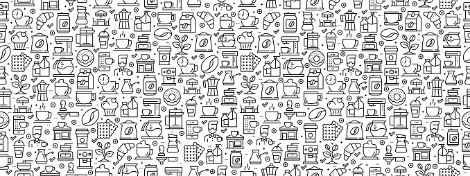 Seamless Pattern with Coffee Icons