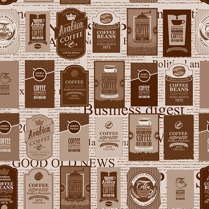 seamless pattern with coffee labels and newspaper