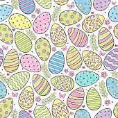 Vector seamless pattern with decorative colored Easter eggs