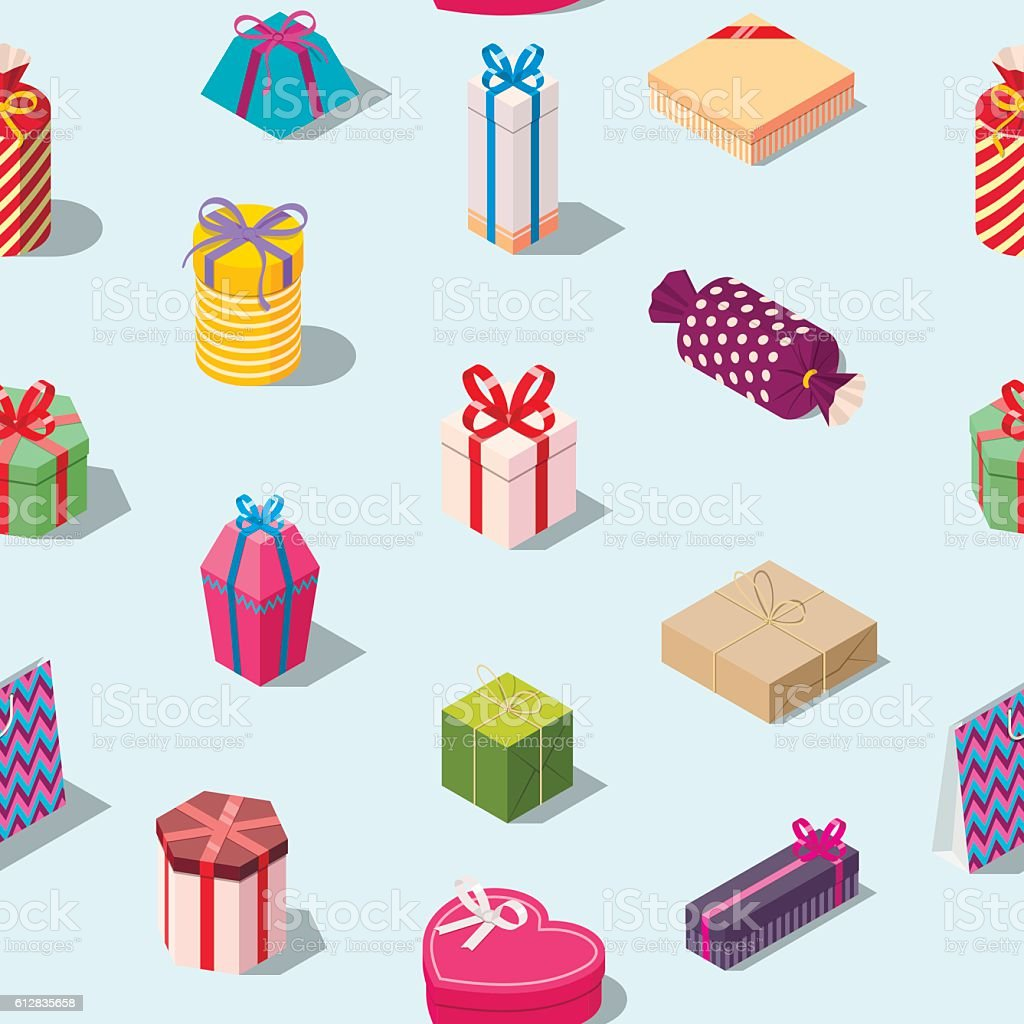 Seamless pattern with colored gift boxes. Seamless pattern with colored gift boxes. Isometric present box background. Texture for print. Editable vector illustration Art stock vector