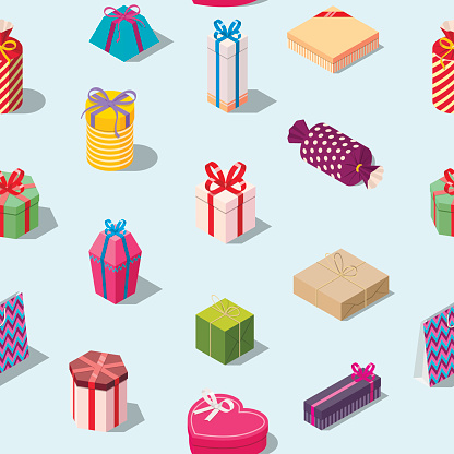 Seamless Pattern With Colored Gift Boxes Stock Illustration - Download Image Now