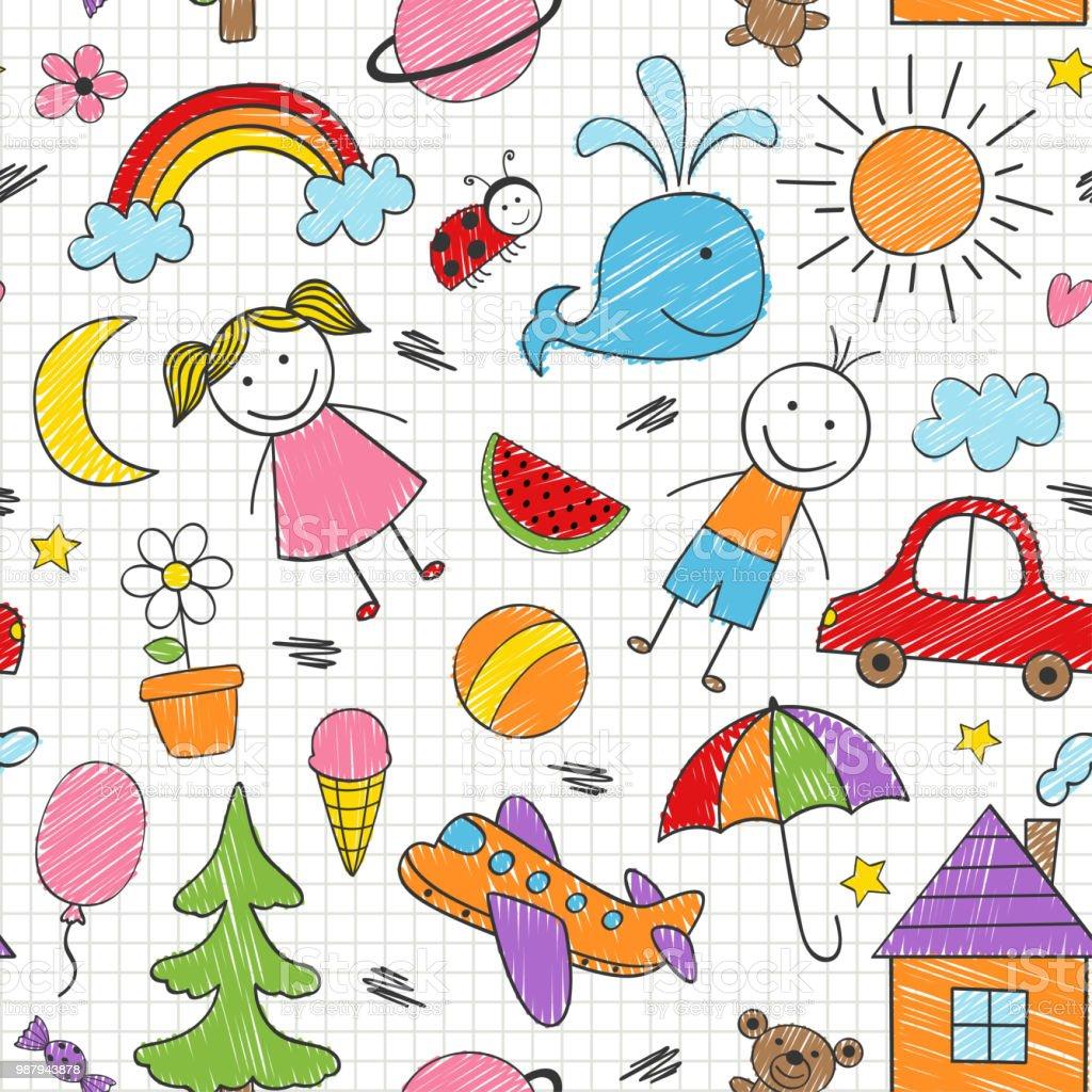 Vetores De Padrao Sem Emenda Com Desenhos Coloridos De Criancas E
