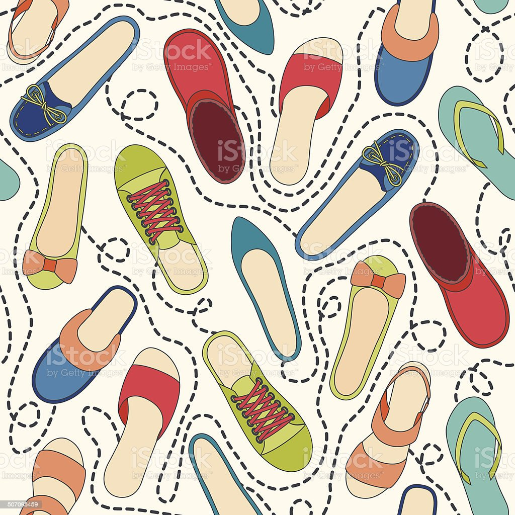 Seamless pattern with colored shoes and dashed lines vector art illustration