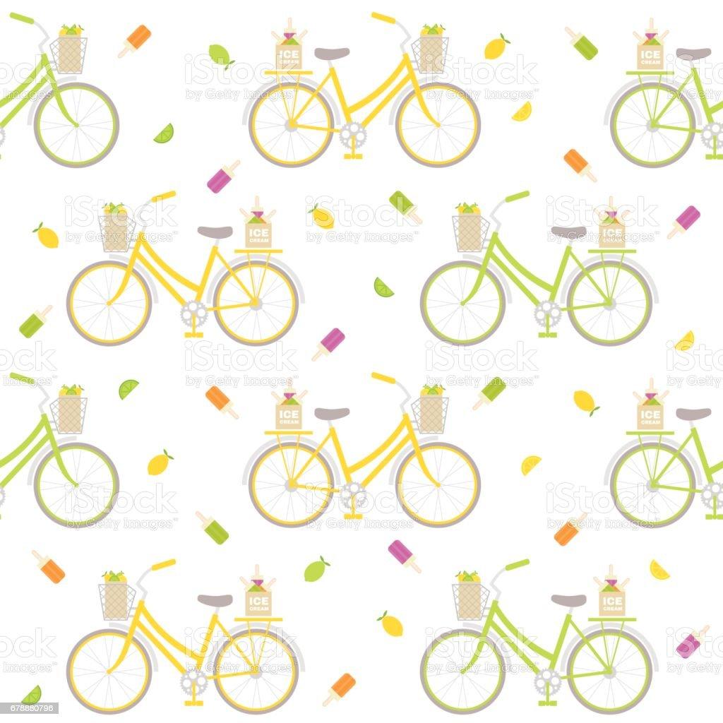 Seamless pattern with colorful bicycle, ice cream and lemons. Great for wrapping paper, posters, backgrounds for the site. royalty-free seamless pattern with colorful bicycle ice cream and lemons great for wrapping paper posters backgrounds for the site stok vektör sanatı & araba kullanımı'nin daha fazla görseli