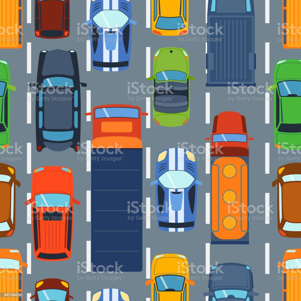 Seamless pattern with colorful cars on road vector. vector art illustration