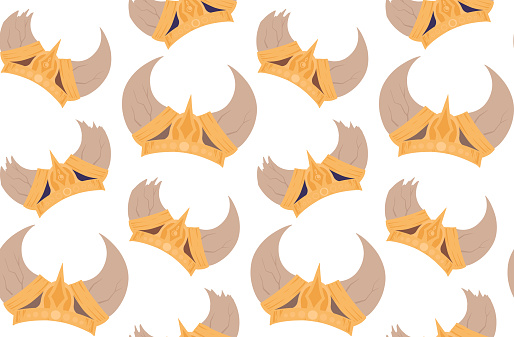 Seamless pattern with colorful cartoon horned viking helmets on white background. Texture with the ammunition of the ancient warriors of the defenders.