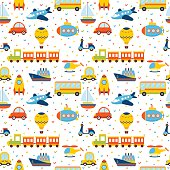 Seamless pattern with colorful cartoon transport. Cute background with hearts. Vector illustration