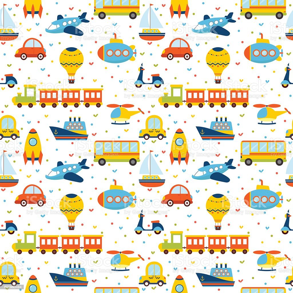 Seamless pattern with colorful cartoon transport vector art illustration