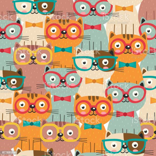 Seamless pattern with colorful cats in glasses vector id877830536?b=1&k=6&m=877830536&s=612x612&h=jnxq1djb 5lyi0dwh4aga2hxsyjzl0kgc5s1rhjch g=