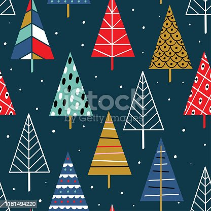 istock seamless pattern with colorful christmas trees 1181494220