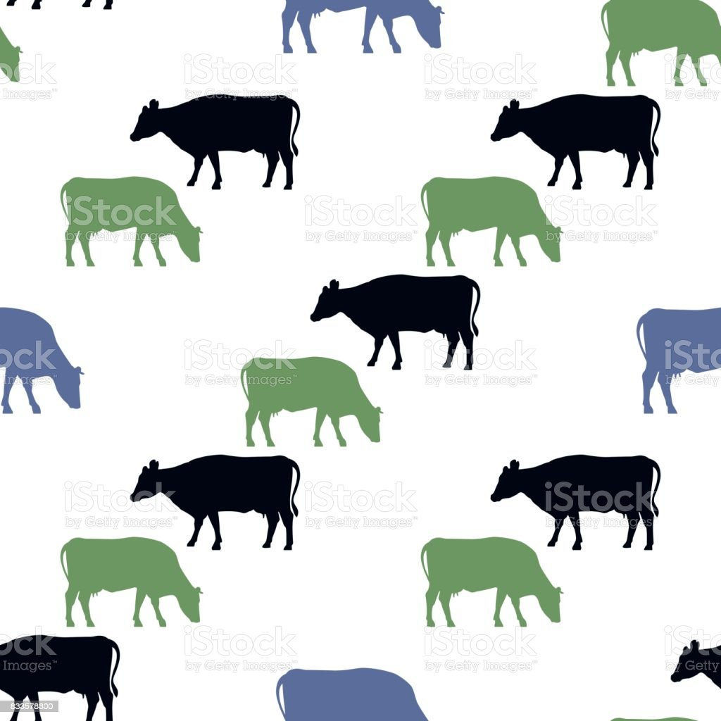 Seamless pattern with colorful cows vector art illustration