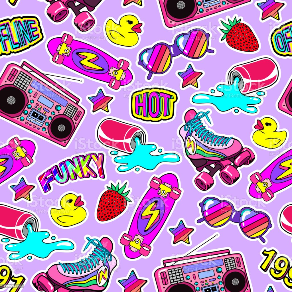 Seamless pattern with colorful elements: skateboard, cap, sunglasses, boombox, rubber duck, vintage roller blades, etc. Violet backdrop. vector art illustration