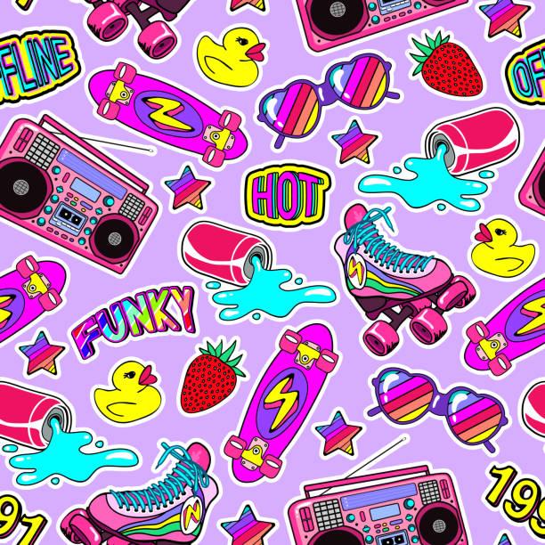 nahtlose muster mit bunten elementen: skateboard, kappe, sonnenbrille, boombox, gummiente, vintage rollschuhe usw.. violetten hintergrund. - rollschuh stock-grafiken, -clipart, -cartoons und -symbole
