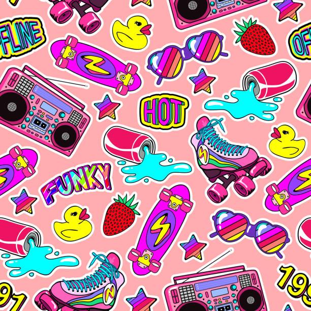 nahtlose muster mit bunten elementen: skateboard, kappe, sonnenbrille, boombox, gummiente, vintage rollschuhe usw.. - kindersprüche stock-grafiken, -clipart, -cartoons und -symbole