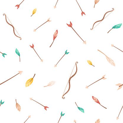 Seamless pattern with colorful feathers, bow and arrows.