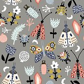 Seamless pattern with colorful funny bugs, butterflies, moths and floral elements in scandinavian style. Modern insects texture .Vector modern background