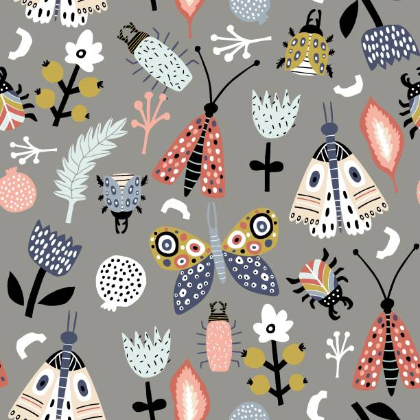 Seamless pattern with colorful funny bugs, butterflies, moths and floral elements in scandinavian style. Modern insects texture .Vector modern background Seamless pattern with colorful funny bugs, butterflies, moths and floral elements in scandinavian style. Modern insects texture .Vector modern background butterfly insect stock illustrations