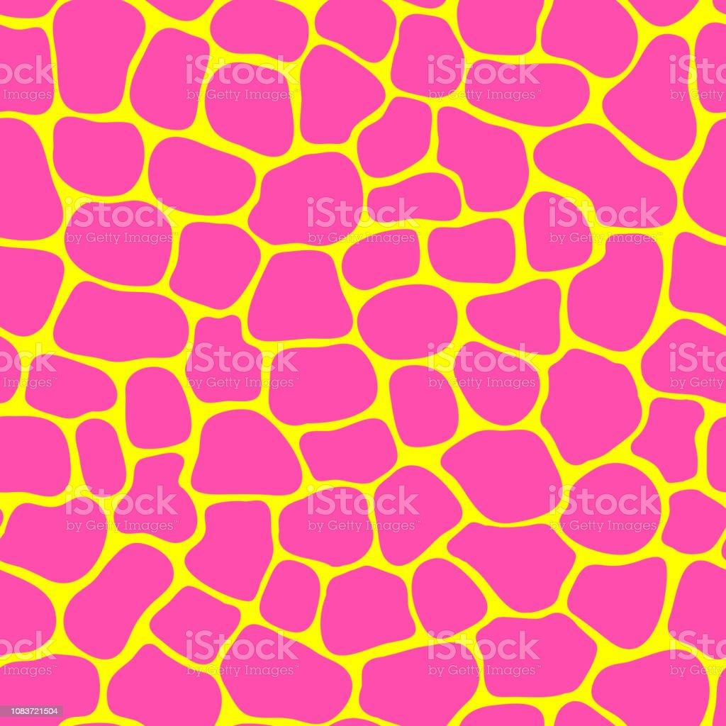 カラフルなキリン毛皮印刷でシームレスなパターン野生動物のようなテクスチャですベクトルの壁紙黄色とピンクの背景 アニマルプリントのベクターアート素材や画像を多数ご用意 Istock