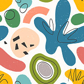 istock Seamless pattern with colorful hand drawn organic shapes,lines,doodles and elements 1216798102